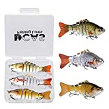 4' Lifelike Fishing Lures | Multi-Jointed Lures | Pack of 3 Topwater Bass Swimbaits | Free Tackle Box Included | Saltwater | Freshwater | Fishing Bait | Bass Lures | Bass Fishing Gear | Fishing Kit