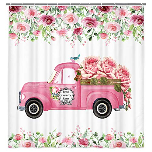 MERCHR Vintage Farm Truck Pink Rose Shower Curtain, Romantic Country Pink Floral Truck Bathroom Curtains, Polyester Fabric Shower Curtain for Bathroom 12PCS Hooks 69X70in