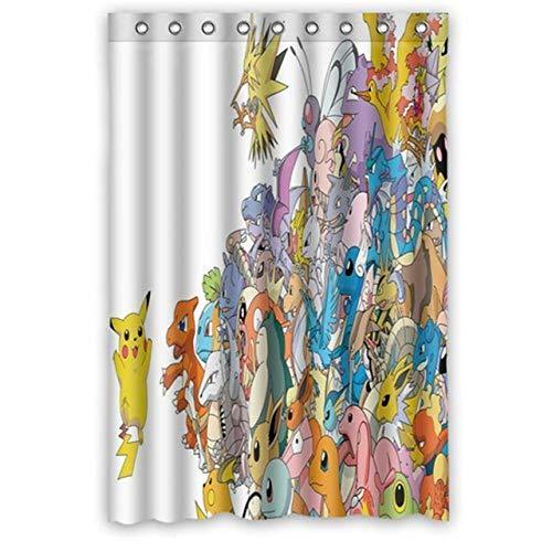 CHENHAO Duschvorhang Waschbar Benutzerdefinierte Anime Pokemon Pikachu Dekoration Hochwertige Polyester Stoff Bad S Wasserdicht 180X200cm