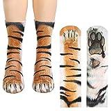 Funny Unisex Animal Paw Socks Bulk 3D Print Animal Hoof Socks for Women Men Teens (Tiger)