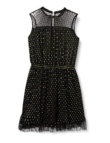 TOM TAILOR Damen Dotted Volant-Dress Kleid, Schwarz (Black 2999), 38