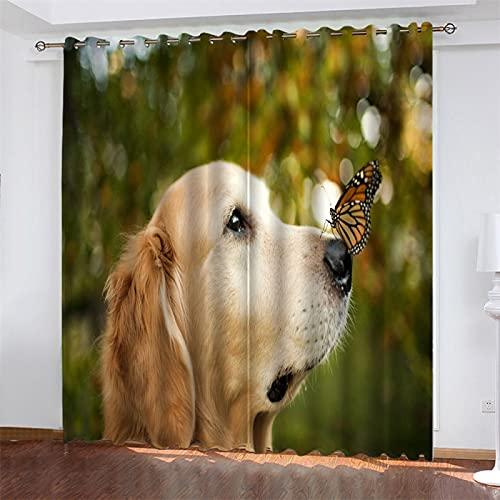NQING Serie De Perros De Impresión Digital 3D con Cortina De Poliéster Perforada, Sombreado Y Reducción De Ruido, Adecuada para Sala De Estar, Dormitorio Y Cocina 2xAN140xAL245cm