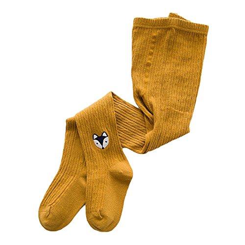 Medias de Bebé - Otoño Invierno Calentar Leggings con Lindo Patrón Algodon Suave Leotardos Longitud Total Pantys para Bebés Niñas Yellow M/3-5 years