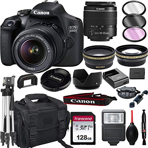 Canon EOS 2000D (Rebel T7) DSLR Camera with 18-55mm f/3.5-5.6 Zoom Lens + + 128GB Card, Tripod, Flash, and More (20pc Bundle)