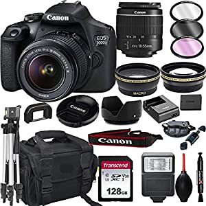 Canon EOS 2000D (Rebel T7) DSLR Camera with 18-55mm f/3.5-5.6 Zoom Lens + + 128GB Card, Tripod, Flash, and More (20pc…
