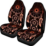 Delicate Design Car Seat Covers Wonderful Orange Dream Catcher Decorative Cover Durable Elastic Saddle Blanket 2pcs Easy Install Remove Washable Covers Soft Comfortable Protector for Car Front Seats