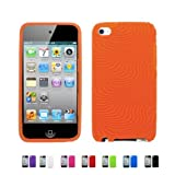 ORANGE Apple iPod Touch 4 4G w/Cameras (iPod Touch 4G, iPod Touch 4th Generation) 16GB 32GB 64GB WAVY Textured Silicone Case Skin Cover + Free Screen Protector (Many Colors Available), RED