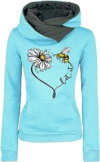 Womens Funnel Neck Hoodies Casual Pullover Graphic Hooded Tops Flower Bee Printed Kangaro Pocket Sweatshirt Top Blouse