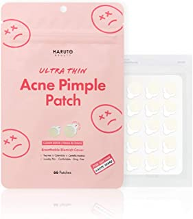 Haruto Ultra Thin Hydrocolloid Acne Pimple Patch, Skin treatment with Tea Tree & Calendula & Cica, Blemish Spot Cover Facial sticker (66 Counts / 1 Pack)
