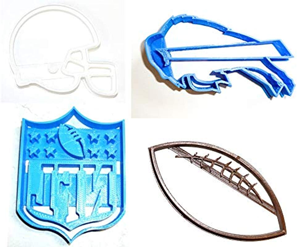 BUFFALO BILLS NFL FOOTBALL LOGO HELMET SET OF 4 SPECIAL OCCASION COOKIE CUTTERS BAKING TOOL 3D PRINTED MADE IN USA PR1146
