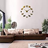 MEKVF Reloj De Pared Acero Inoxidable Reloj Reloj Relojes De ParedPatrón De Perro 3D Espejo Acrílico Pegatinas Moderno Decoración del Hogar Sala De Estar Cuarzo 47 Pulgadas