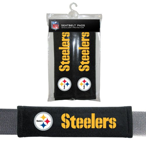 Fremont Die NFL Pittsburgh Steelers Seat Belt Pads, 10' x 2.5' (Pack of 2), 10' x 2.5' (Pack of 2), Black/Team Colors