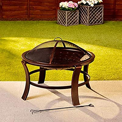 alfresco LIVING Tuscany Fire Basket with Spark Guard 76 x 56 cm Bronze Effect Fire Bowl Fire Pit Poker Patio Patio Garden by Jawoll