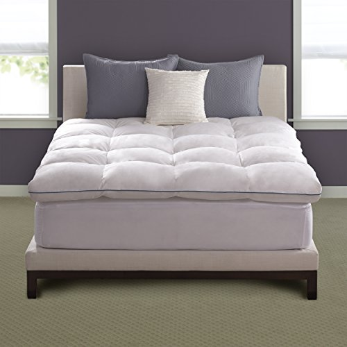 Pacific Coast Hotel Deluxe Baffle Box Mattress Topper 230 Thread Count 100% Feathers - Queen