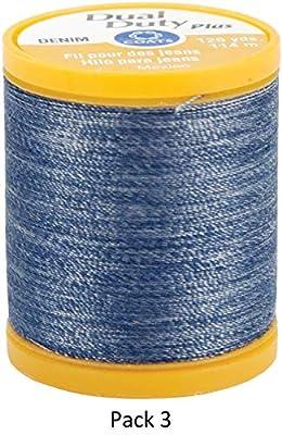Coats & Clark S976-4665 Dual Duty Plus Denim Thread, 125-Yard, Denim Blue, 3 Pack