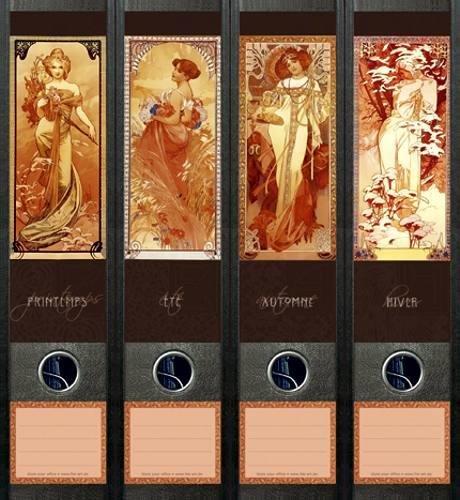 File Art - Etiquettes à design pour 4 classeurs A4 dos large - Motif Four Seasons