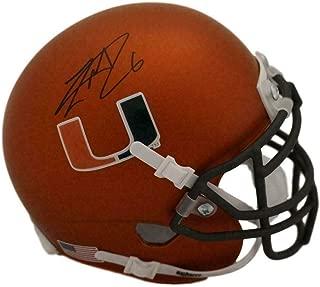 Lamar Miller Autographed Miami Hurricanes Schutt Orange Mini Helmet 22693 - JSA Certified - Autographed College Mini Helmets