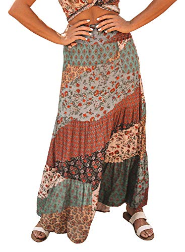 Eytino Women Boho Floral Print Elastic High Waist Pleated A Line Long Maxi Skirt,Medium Multicolor