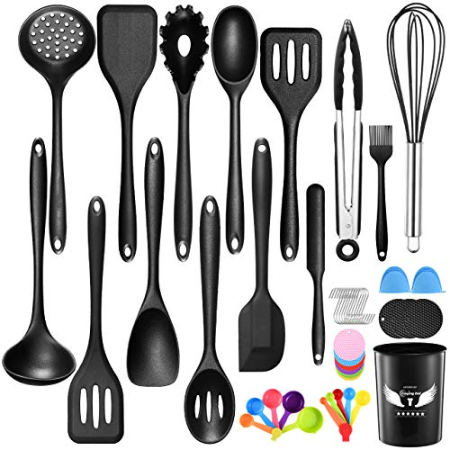Kitchen Cooking Utensils Set with Holder, Oudekay 48 Pack Silicone Cooking Utensils for Nonstick Cookware Heat Resistant Spatula Set, Dishwasher Safe Kitchen Gadgets Cookware Tool Set