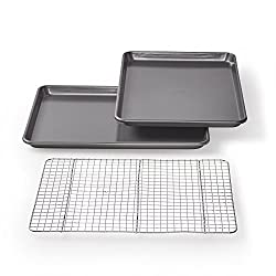 "Chicago Metallic Professional Non-Stick Cookie/Jelly-Roll Pan Set with Cooling Rack, 17-Inch-by-12.25-Inch. <a href=""https://www.amazon.com/gp/product/B003YKGR9Q/ref=as_li_qf_asin_il_tl?ie=UTF8&amp;tag=ris15-20&amp;creative=9325&amp;linkCode=as2&amp;creativeASIN=B003YKGR9Q&amp;linkId=67034ecf798764edbd207668459d36fd"" target=""_blank"" rel=""nofollow noopener noreferrer""><span style=""text-decoration: underline; color: #0000ff;""><strong>Buy it on Amazon.</strong></span></a>"