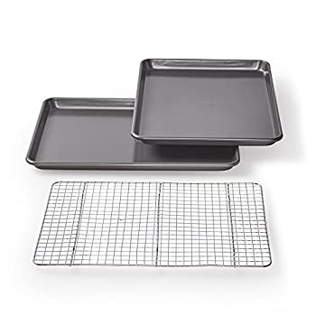 Chicago Metallic Professional Non-Stick Cookie/Jelly-Roll Pan Set with Cooling Rack 17-Inch-by-12.25-Inch