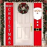 Annhao Banner di Natale 2 Pezzi di Benvenuto Buon Natale Portico Segno Banner Door di Benvenuto Decorazioni per Porta di Natale Decor di Decorazioni di Natale Outdoor Indoor (Rosso - 2)