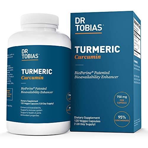 Dr. Tobias Turmeric Curcumin, Extra Strength 750 mg Turmeric, 120 Vegetarian Capsules (1 Daily)