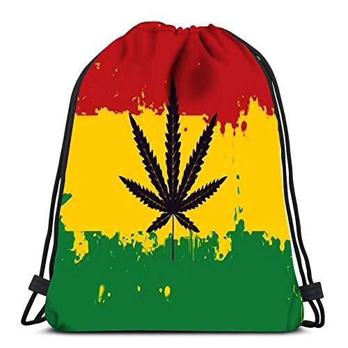 GeorgoaKunk Bolsas con cordón de Marihuana con Hoja de cáñamo en el extracto de la Bandera Rastafari Soft Po