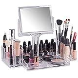 Organisateur Maquillage 2 en 1 avec miroir – un essentiel pour chaque coiffeuse! Fabriqué en acrylique moulé de haute qualité Miroir double face détachable avec option de grossissement x1 et x3 Offre plusieurs compartiments pour vos cosmétiques favo...