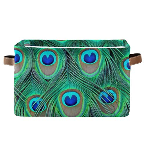 KEEPREAL Large Storage Basket Bin Peacock Feather Storage Cube Box Foldable Canvas Fabric Collapsible Organizer with Handles for Home Office Closet