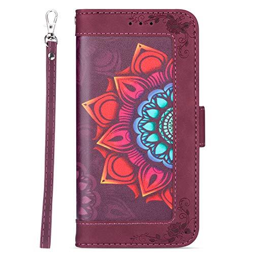 TOPOFU Cover per iPhone 12/12pro 6.1'', Flip Cover [Modello di Fiore del] Custodia Protettiva Caso Libro Pelle PU con Portafoglio, Funzione Supporto, Chiusura Magnetica-Rosso