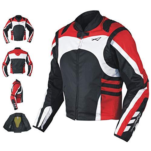 Textil Sommerjacke CE Protektoren Racing Motorrad Winddicht Stretch Rot XS