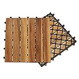Hengda Terrassenfliese Holzfliesen Akazie 2m², 30x30cm, Bodenbelag, Drainage, Garten Klick-Fliese