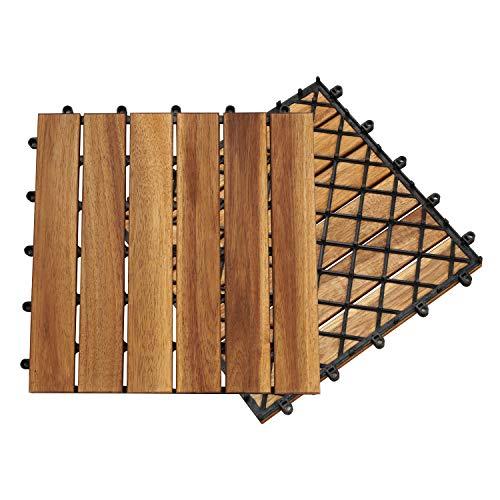 Hengda Terrassenfliese Holzfliesen Akazie 1m², 30x30cm, Bodenbelag, Drainage, Garten Klick-Fliese