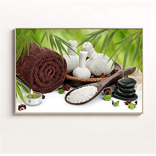 zxddzl Wandbild Druck Stein Zen Malerei Kerze Orchidee Poster Badezimmer Wandbild Moderne Dekoration in der Küche Malerei