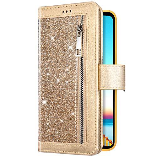 Uposao Kompatibel mit iPhone 11 Pro Handyhülle Bling Glitzer Reißverschluss Multifunktionale Schutzhülle 9 Kartenfächer Flip Wallet Case Cover Klapphülle Leder Tasche Magnet,Gold