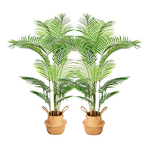Ferrgoal Artificial Areca Palm Plants 63 Inch Fake Dypsis Lutescens Tree with 17 Trunks in Pot and Woven Seagrass Belly Basket Perfect Faux Plant for Home Indoor Outdoor Office Modern Decor Green 2Pc