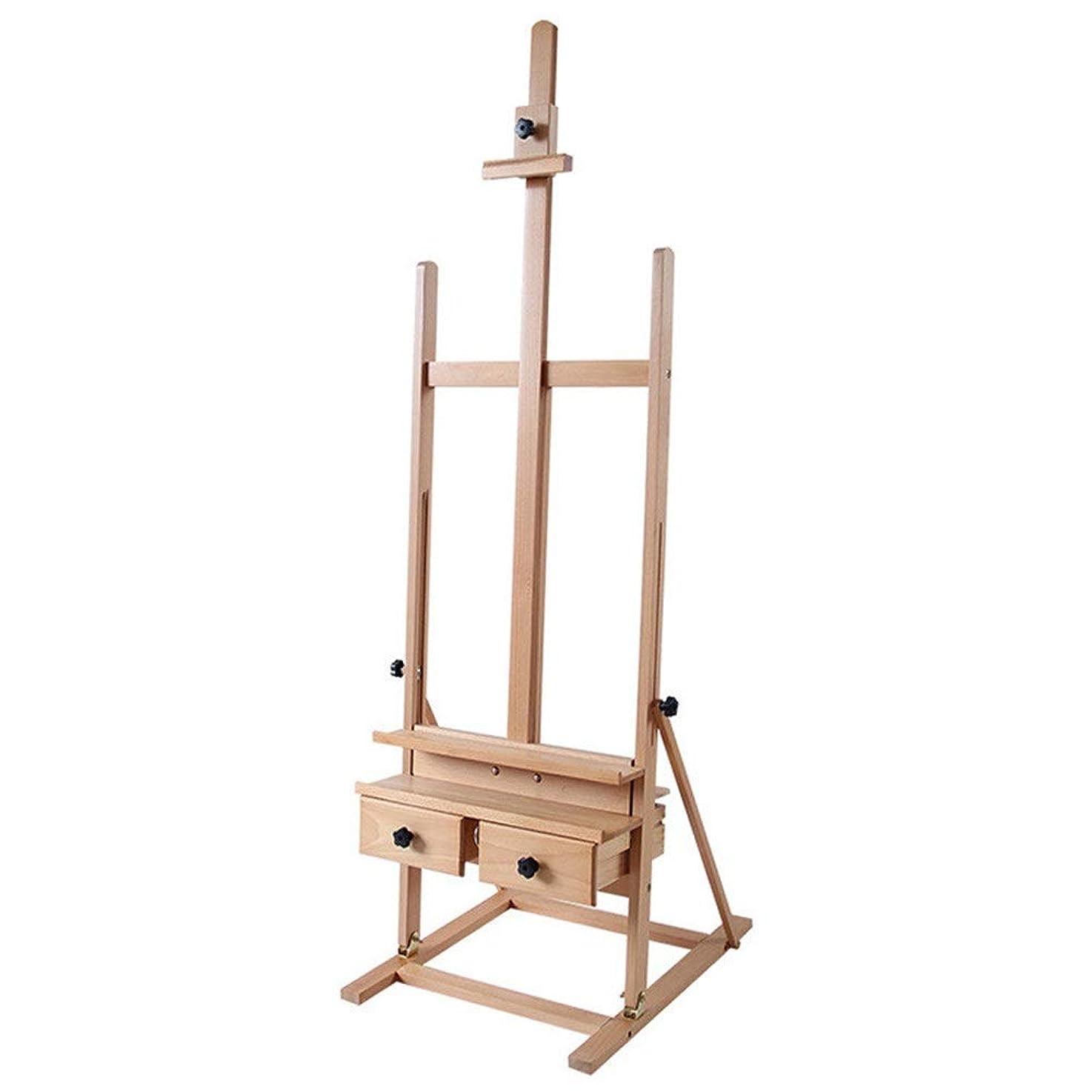 ランクタップ走る多機能 イーゼル ポータブルスケッチ描画のための木製イーゼルアーティストや絵画引き出し絵画と表示イーゼル 写真展示 絵画飾る (Color : Natural, Size : As picture)