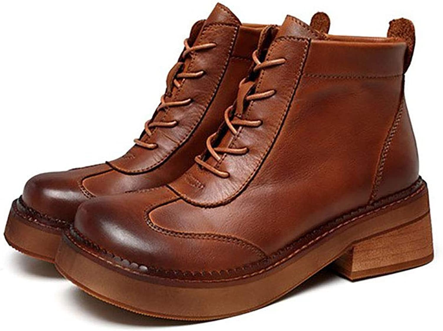 AW-YTXYDY Women's Vintage Lace-up Martin Boots, Cowhide Material, Work Shopping Travel, Wear Slip Resistant (35-40 Yards) (color   Brown, Size   40)
