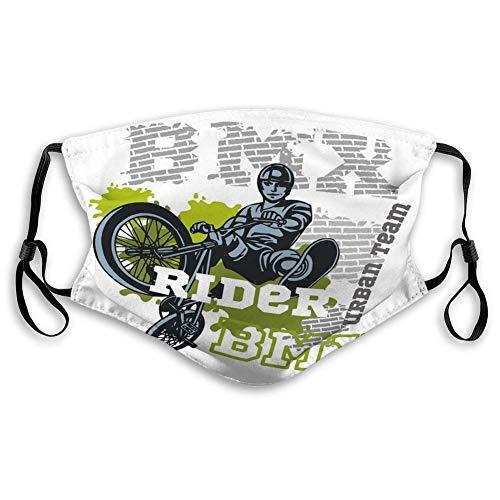 Bequemes GesichtMasken, für Männer und Frauen, Jungen und Mädchen BMX Rider Urban Team Freestyle Bike Trial Pos S.