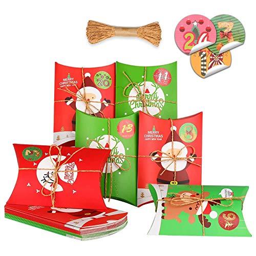 KATELUO 24 Piezas Cajas de Regalo,cajitas para Caramelos,cajitas Regalo comunion,Cajas para Galletas Adecuado para Navidad, Fiesta, decoración de Regalos.