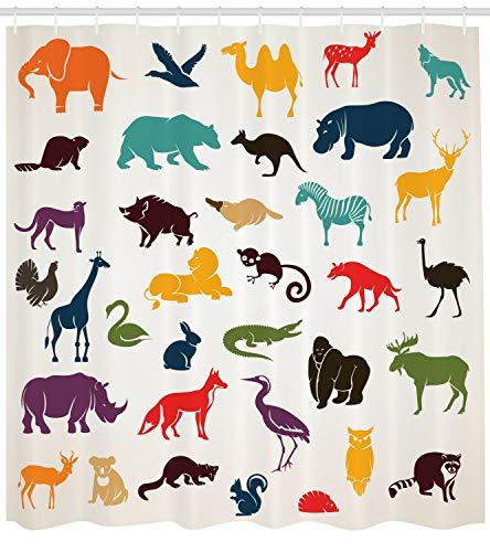 Dor675ser Duschvorhang, 182,9 x 182,9 cm, Zoo-Duschvorhang, afrikanische Silhouetten, Safari-Aufdruck für Badezimmer