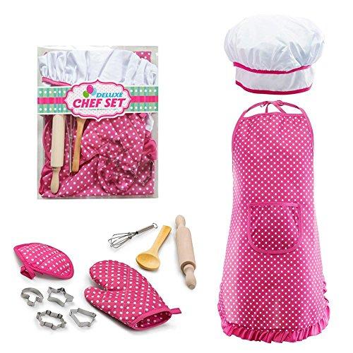 Lembeauty Ensemble de cuisine et de pâtisserie pour enfants comprenant un tablier, un chapeau de chef, un gant et des ustensiles et d'autres accessoires pour déguisement de chef pour enfant