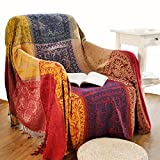 Boho Throw Blanket, Chenille Jacquard Tassels Throw Blanketsfor Bed Couch Soft Chair,Bohemian Fringe Tassels (Red, S:60x75