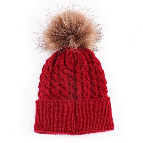 Gorro de Punto Cálido de Invierno para Bebé, Gorro de Gorro de Piel de Ganchillo para Niños Pequeños (Rojo)