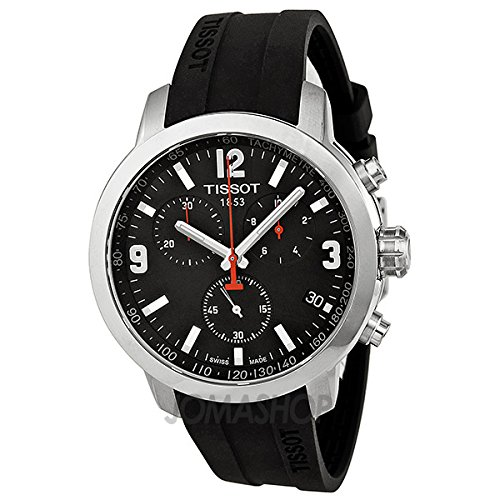 Gifts and Jewels Co. Tissot Tissot PRC 200 Cronógrafo Negro Dial Negro Goma Mens Reloj T0554171705700