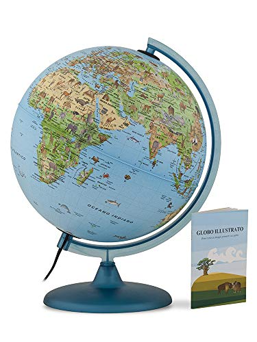 TECNODIDATTICA - 0325SASAITKBBGD6 – Globo terráqueo Safari con Libro, 25 cm