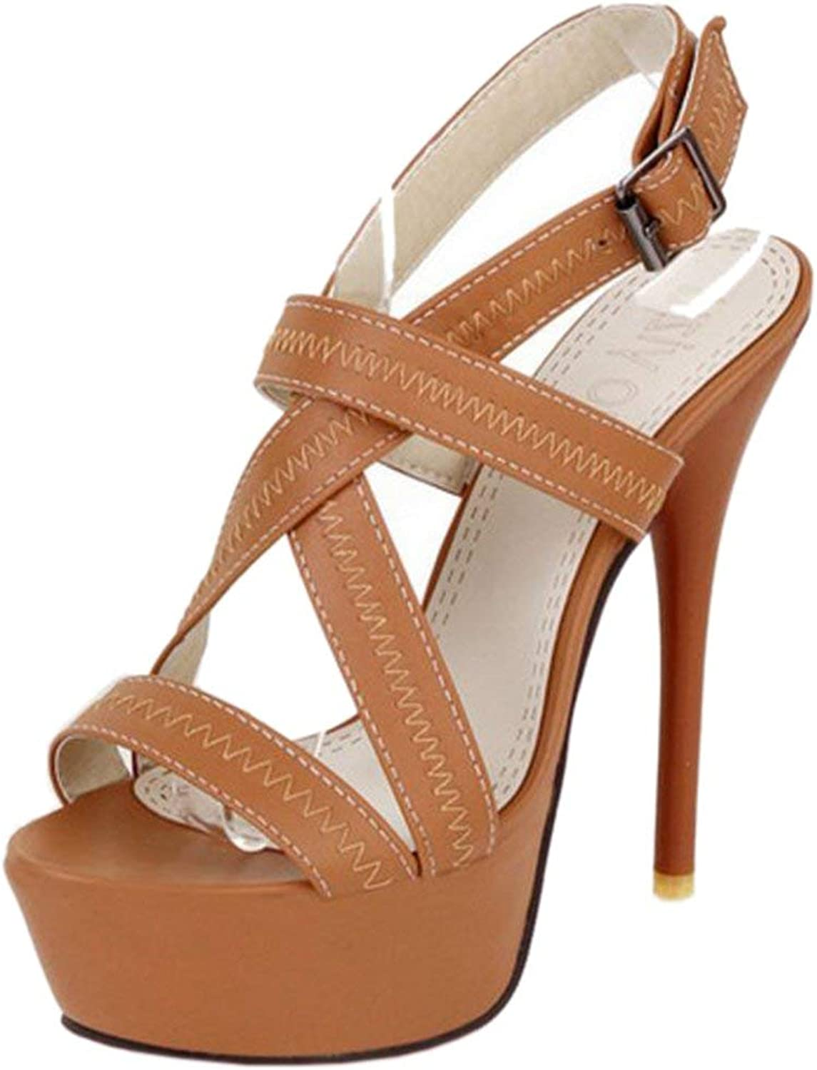 Unm Women Elegant Platform Slingback Buckle Strap Party Stiletto Heel Sandals