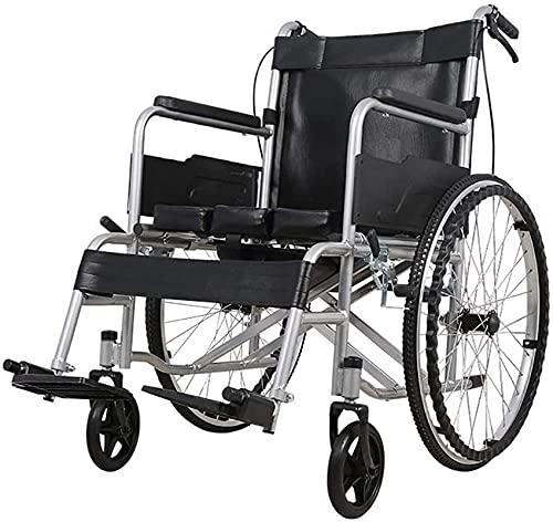 Silla De Ruedas Plegable De Acero Al Carbono, Asiento De Inodoro Portátil con Pedal Y Freno De Mano, Tubería De Acero Engrosada De 22 Mm, para Adultos, Discapacitados, Ancianos A