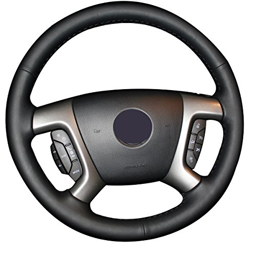JI Loncky Genuine Leather Steering Wheel Cover for Chevrolet 2008-2013 Silverado 1500 /Silverado 2500 3500/2007-2014 Tahoe/2007-2014 Suburban 1500/2007-2013 Avalanche 1500/2009-2015 Traverse/Express